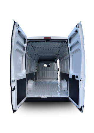 Empty white van with rear and side doors opened