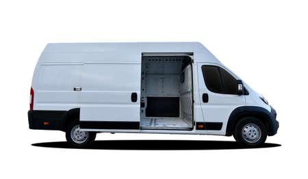 White delivery van with side door open