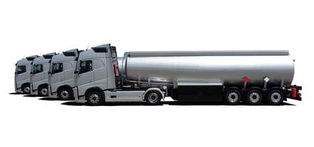 Four Fuel tanker trucks, side view