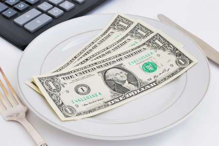Dinner service with dollar denominations on plate and calculator buttons on backgrounds Stock Photo - 11670084