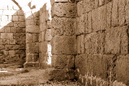 ceasarea: Ruins of an ancient Caesaria, city of Pontius Pilate, the procurator of Judea. Sepia