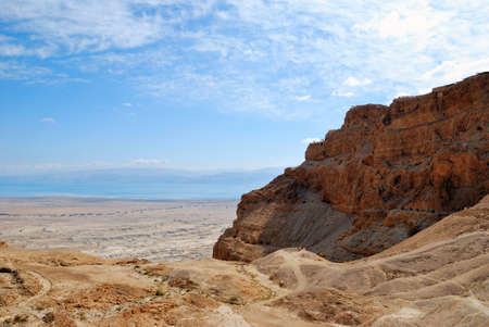 Fragment of the Judean desert near the shore of the Dead Sea. photo