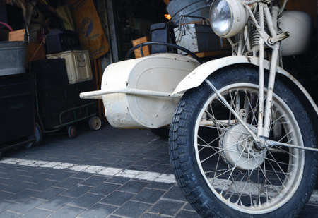 sidecar: Old vintage motorcycle with sidecar.