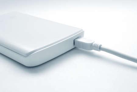 megabytes: Portable external hard drive with mini USB connection Stock Photo