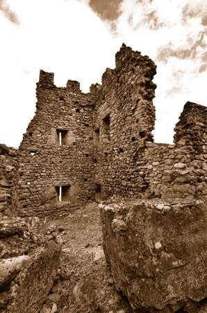 Fragment of Castle of Acquadda. Sardinia. Italy. Sepia Stock Photo - 18928306