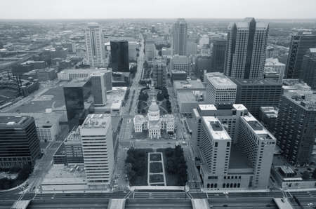 local government: Top view of the modern city. St. Louis. USA. Monochrome