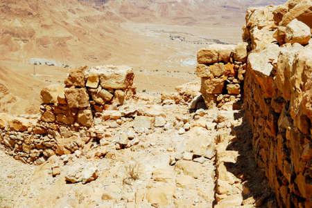 masada: Wall fragment of ancient fortress. Masada, Israel