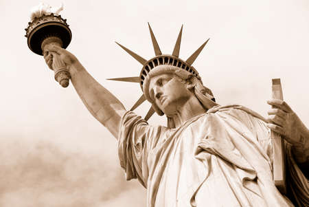 American symbol - Statue of Liberty. New York, USA. Sepia