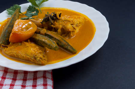 Spicy and tasty fish curry dish, Traditional Malaysian cuisine. Selective focus.