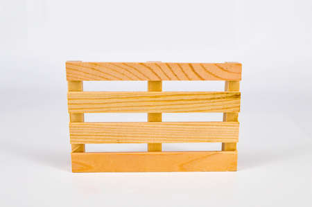 Wooden pallet on the white background.Selective focus. Stock Photo