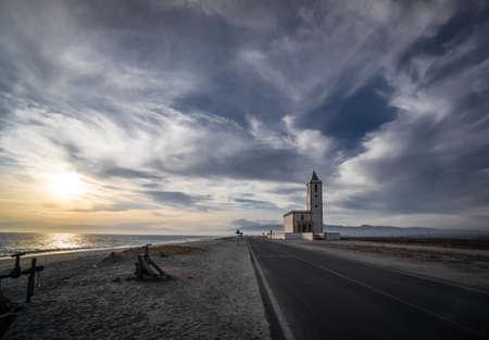 Church at the sea overcast