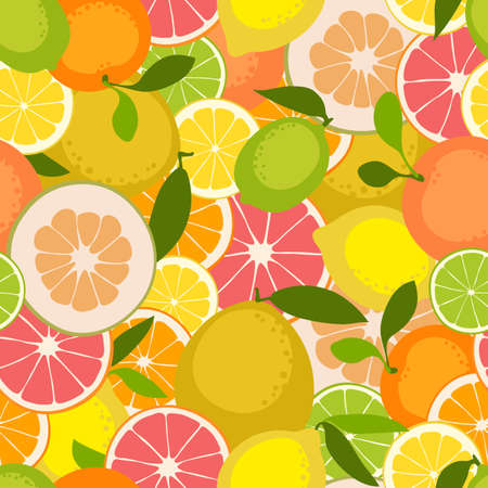 grapefruit: Fruit seamless pattern. Lemon, orange, grapefruit, pomelo, lime. Vector illustration.