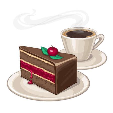 Cake op een plaat en een kopje koffie. Geïsoleerd op een witte achtergrond.