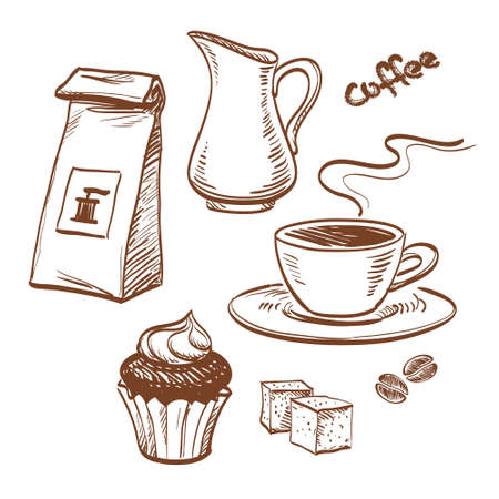 sugar cube: Sketch with cup of coffee, coffee beans, cupcake, milk, packet of coffee and sugar cubes. Isolated on white background. Hand drawn vector illustration.