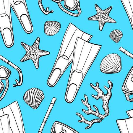 flippers: Summer seamless pattern. Hand drawn vector illustration. Illustration