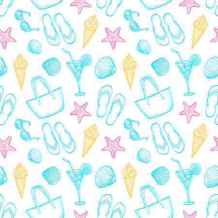Summer seamless pattern. Hand drawn vector illustration. Illustration