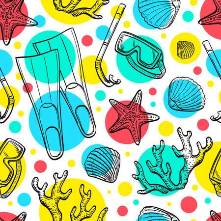seacoast: Summer seamless pattern. Hand drawn vector illustration. Illustration