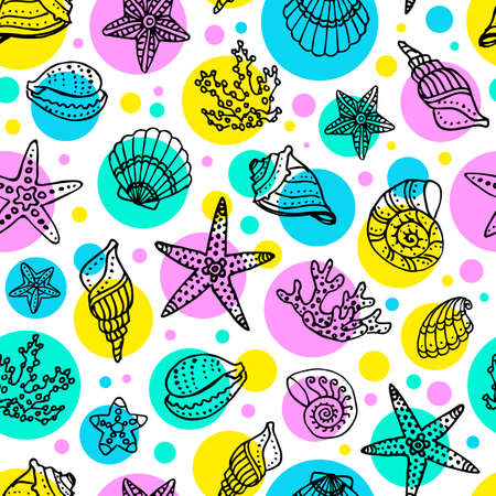 seacoast: Seamless pattern with doodle seashells, corals and starfishes. Hand drawn vector illustration.