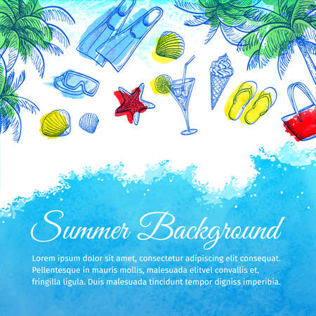 Sea watercolor background. Summer vacation. Hand drawn vector illustration. Illustration