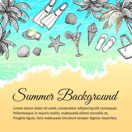 plunge: Summer sea background. Vintage hand drawn vector illustration. Illustration