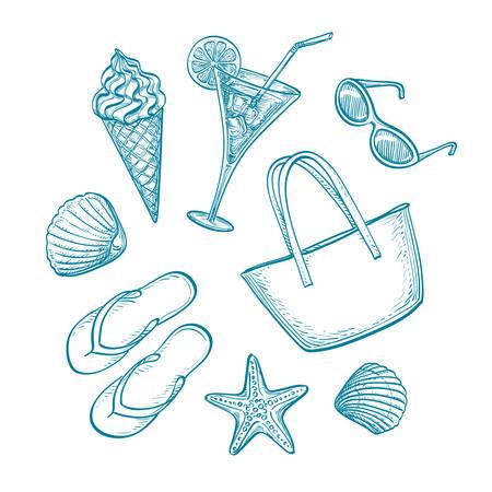 tankard: Summer sketch set.  Hand drawn vector illustration. Retro style.