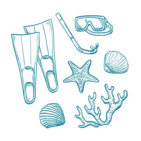 seacoast: Summer sketch set.  Hand drawn vector illustration. Retro style.