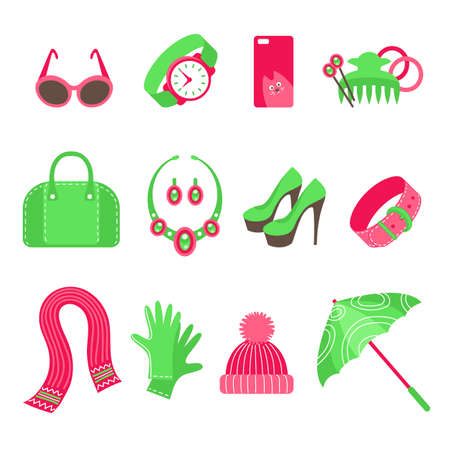 women s hat: Feminine accessories icons set isolated on white background. Sunglasses, watch, phone cover, hair accessories, handbag, jewelry, shoes, belt, scarf, gloves, hat, umbrella. Flat vector illustration. Illustration