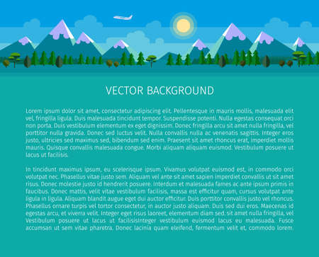 header image: Flat landscape background. Forest and mountains. Vector website header image. Illustration