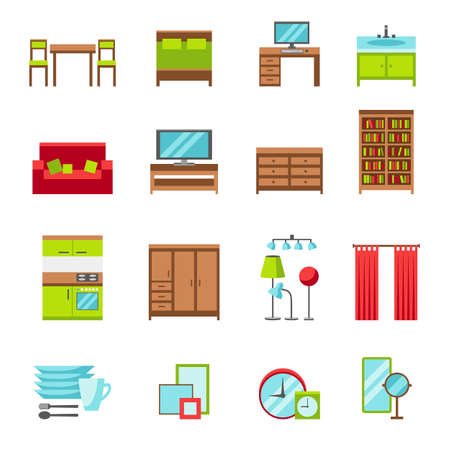 home lighting: Furniture icons set. Flat style vector illustration. Furniture for bedroom, dining room, living room, home office, bathroom and kitchen. Dinnerware, mirrors, clocks, curtains, frames, lighting.