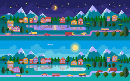 header image: Flat landscape illustration. Night and day versions. Road, town, lake and mountains. Vector website header image or horizontal web banner.