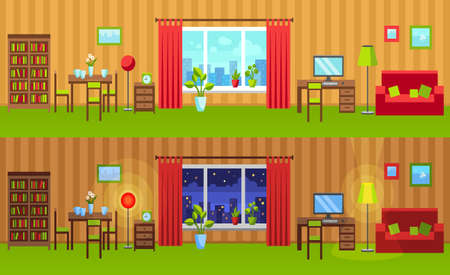 header image: Flat style interior illustration. Night and day versions. Room Vector website header image or horizontal web banner. Room with window, bookcase, dining table, home office, sofa, potted plants. Illustration