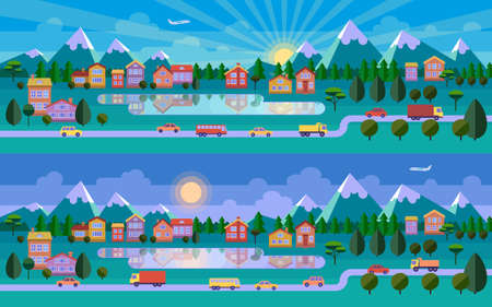 header image: Flat landscape illustration. Morning and evening versions. Road, town, lake and mountains. Vector website header image or horizontal web banner.