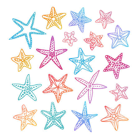 seacoast: Doodle set of starfishes. Isolated on white background. Hand drawn vector illustration.