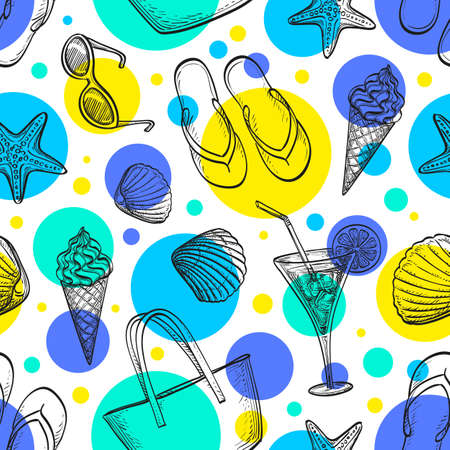 tipple: Summer seamless pattern. Hand drawn vector illustration. Illustration