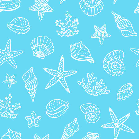 dipping: Seamless pattern with doodle seashells, corals and starfishes. Hand drawn vector illustration.