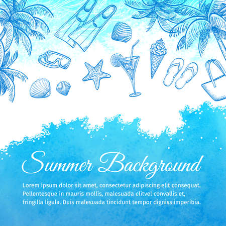 plunge: Sea watercolor background. Summer vacation.Hand drawn vector illustration.