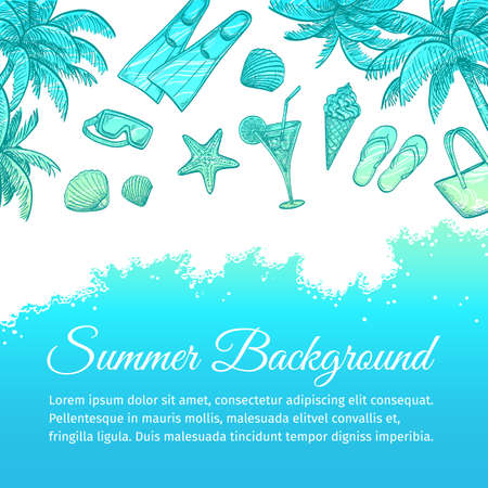 seacoast: Summer sea background. Hand drawn vector illustration.