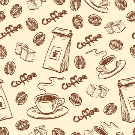 sugar cube: Seamless pattern with coffee beans, cup of coffee, packet of coffee and sugar cubes. Hand drawn vector illustration.
