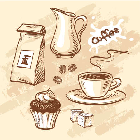 sugar cube: Sketch with cup of coffee, coffee beans, cupcake, milk, packet of coffee and sugar cubes. Hand drawn vector illustration. Illustration
