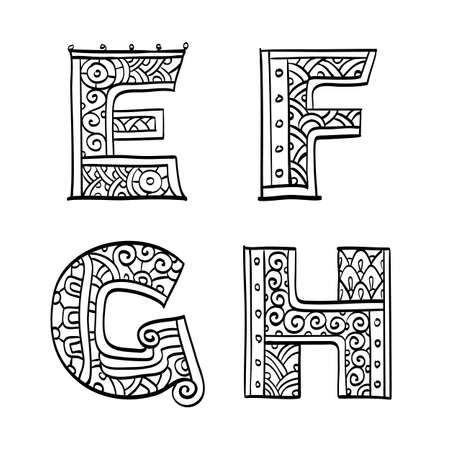 Vintage set of initial letters. Hand drawn vector illustration. Four letters of the ethnic patterned alphabet. E,F,G,H. Isolated on white background.  イラスト・ベクター素材