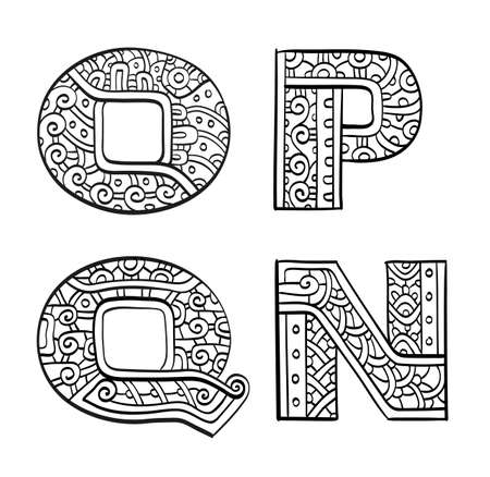 Vintage set of initial letters. Hand drawn vector illustration. Four letters of the ethnic patterned alphabet. O, P, Q, N. Isolated on white background. Illustration