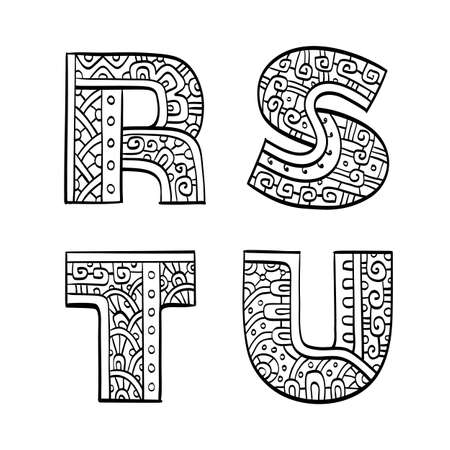 initial: Vintage set of initial letters. Hand drawn vector illustration. Four letters of the ethnic patterned alphabet. R, S, T, U. Isolated on white background.