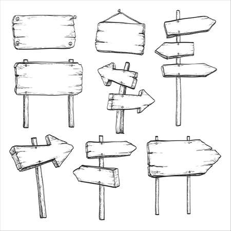 signposts: Sketch set of wooden signposts and signboards. Hand drawn vector illustration. Isolated on white background. Illustration