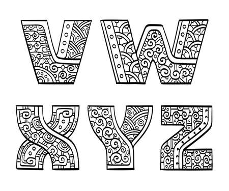 initial: Vintage set of initial letters. Hand drawn vector illustration. Five letters of the ethnic patterned alphabet. V, W, X, Y, Z. Isolated on white background.