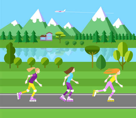 rollerblading: Three girls rollerblading. Flat landscape illustration. Forest and mountains. Blue sky and plane.