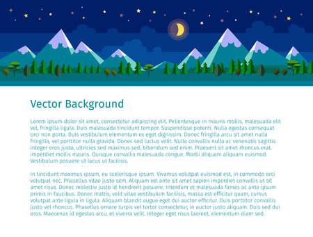website header: Flat landscape illustration. Night version. Website header. Text on white background.