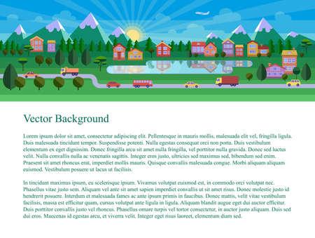 website header: Flat landscape illustration. Website header. Text on white background.