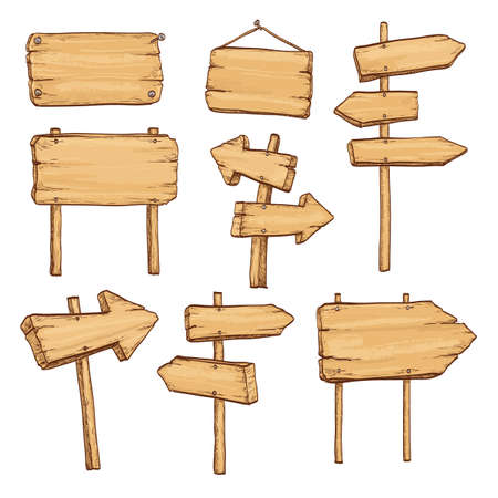 Sketch set of wooden signposts and signboards. Hand drawn illustration. Isolated on white background. Illustration