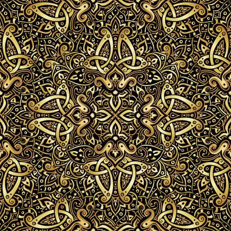 ゴールドと黒の色で民族のシームレスなパターン。抽象的な背景。東洋の装飾的な要素。自由奔放に生きるスタイルのベクトル図です。