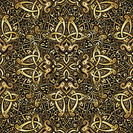 Ethnic seamless pattern in gold and black colors. Abstract background. Oriental decorative elements. Boho style vector illustration.